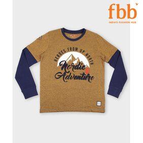 DJ&C Boy Cotton Printed T-shirt - Brown