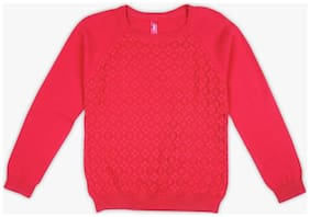 DJ&C Boy Cotton Solid Sweater - Red