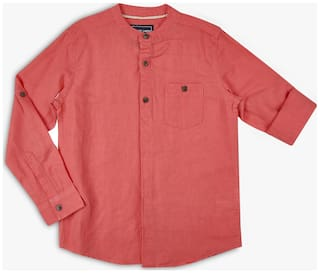 DJ&C Boy Cotton blend Solid Shirt Orange