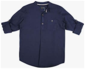 DJ&C Boy Cotton blend Solid Shirt Blue