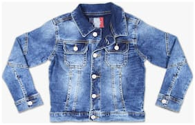 DJ&C Boy Blended Solid Winter jacket - Blue