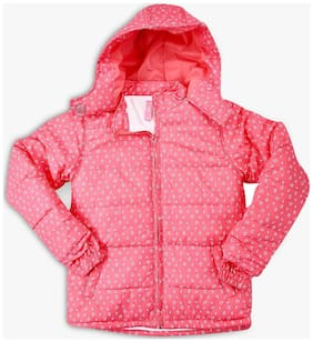 DJ&C Girl Polyester Printed Winter jacket - Pink