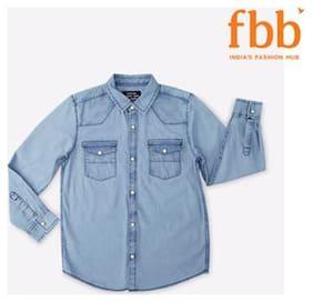 DJ&C Boy Cotton Solid Shirt Blue