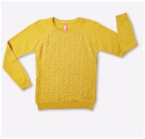 DJ&C Girl Cotton Solid Sweater - Yellow