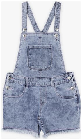 DJ&C Rayon Solid Dungaree For Girl - Blue