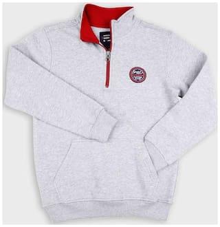 DJ&C Boy Poly cotton Solid Sweatshirt - Grey