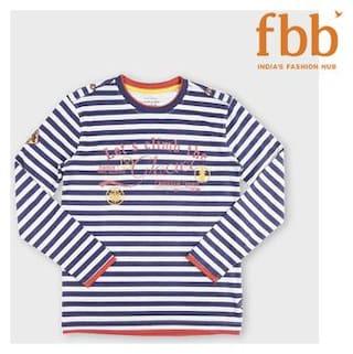 DJ&C Boy Poly cotton Striped T-shirt - Blue