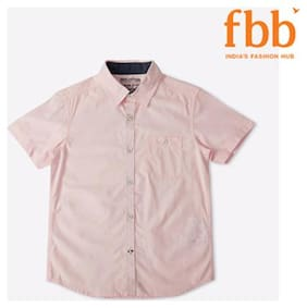 DJ&C Boy Cotton Solid Shirt Pink