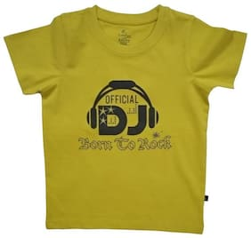 KiddoPanti Boy Cotton Printed T-shirt - Yellow
