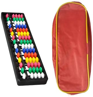 Djuize Abacus Math Learning kit for Kids  15Rod Multicolour with Pouch ( Set of 2)