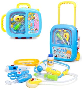 Doctor Play Set with Trolley Suitcase with Light and Sound Effects (Blue)
