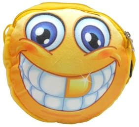 Donex 2 L Smiley Soft Sling Bag For Kids Yellow