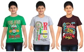 Dongli Boys Round Neck Tshirt (Pack Of 3) -Multicolor