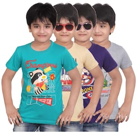 Dongli Pack Of 4 Printed Round Neck T-Shirt