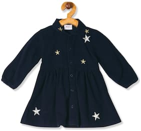 Donuts Baby girl Cotton Self design Collar frock - Blue