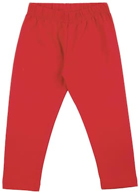 Donuts Baby girl Cotton Solid Leggings - Red