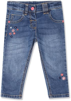 Donuts Baby girl Cotton Embroidered Jeans - Blue