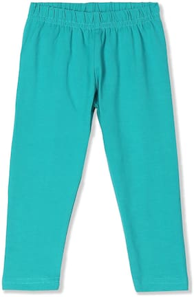 Donuts Baby girl Cotton Solid Leggings - Green