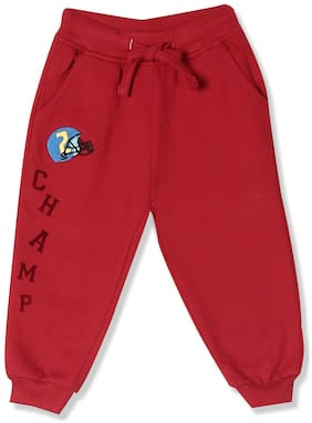 Donuts Baby boy Cotton Solid Trousers - Red