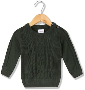 Donuts Baby boy Acrylic Solid Sweater - Green