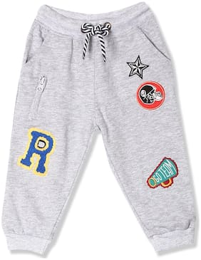 Donuts Baby boy Cotton Solid Trousers - Grey