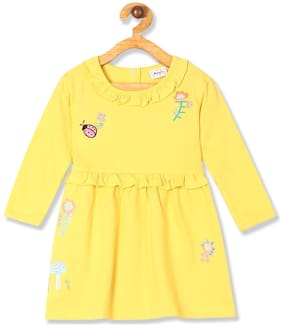Donuts Baby girl Cotton Self design Princess frock - Yellow
