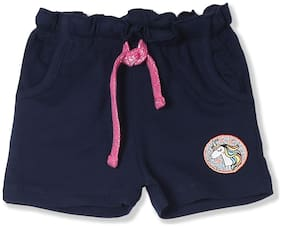Donuts Baby girl Cotton Solid Shorts - Blue