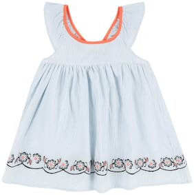 Donuts Baby girl Cotton Striped Princess frock - Blue