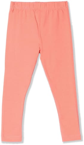 Donuts Baby girl Cotton Solid Leggings - Pink