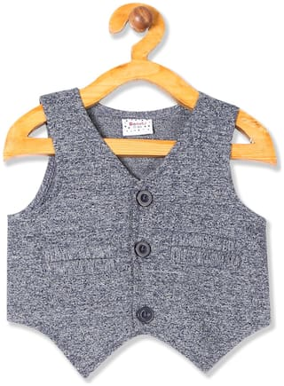 Donuts Baby boy Cotton Solid Ethnic jacket - Blue