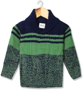 Donuts Baby boy Acrylic Solid Sweater - Blue & Green