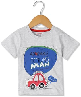 Donuts Cotton blend Printed T shirt for Baby Boy - Grey
