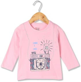 Donuts Cotton Printed T shirt for Baby Girl - Pink