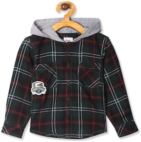 Donuts Cotton Checked Shirt for Baby Boy - Green