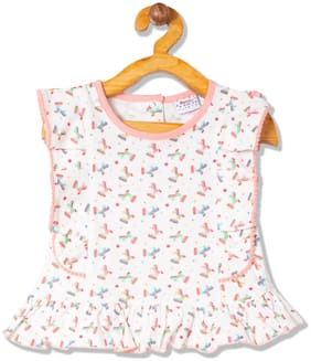 Donuts Cotton Printed Top for Baby Girl - White