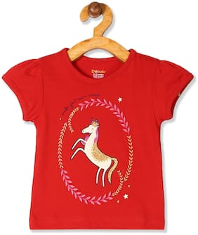 Donuts Cotton Printed T shirt for Baby Girl - Red