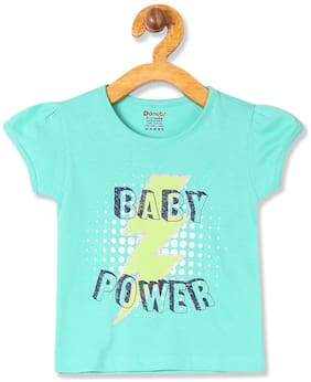 Donuts Cotton Printed T shirt for Baby Girl - Green
