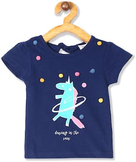 Donuts Cotton Printed Top for Baby Girl - Blue
