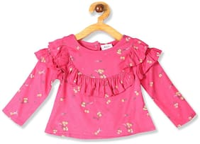 Donuts Cotton Printed Top for Baby Girl - Pink