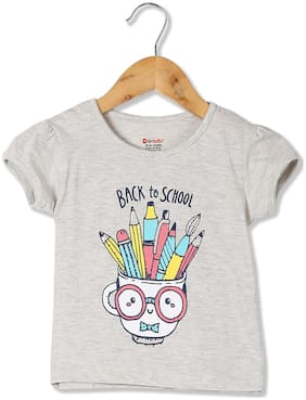 Donuts Cotton Printed T shirt for Baby Girl - Grey
