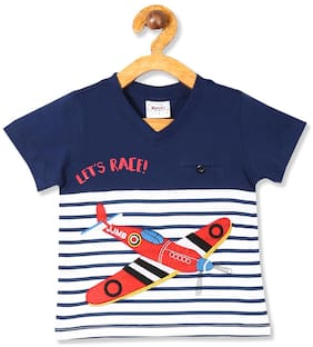 Donuts Cotton Striped T shirt for Baby Boy - Blue
