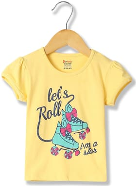 Donuts Cotton Printed T shirt for Baby Girl - Yellow