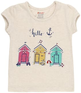 Donuts Cotton Printed T shirt for Baby Girl - White