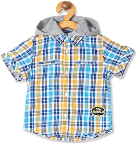Donuts Cotton Checked Shirt for Baby Boy - Blue