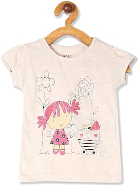 Donuts Cotton Printed T shirt for Baby Girl - Beige