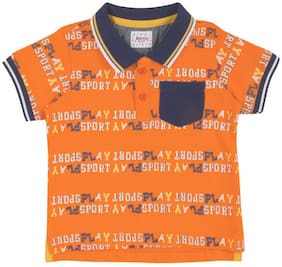 Donuts Cotton Printed T shirt for Baby Boy - Orange