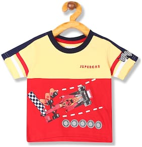 Donuts Cotton Printed T shirt for Baby Boy - Red & Yellow
