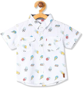 Donuts Cotton Printed Shirt for Baby Boy - White