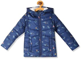 Donuts Baby girl Polyester Printed Winter jacket - Blue