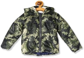Donuts Baby boy Polyester Printed Winter jacket - Green